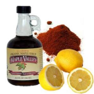 Maplesyrup,lemons,cayenne